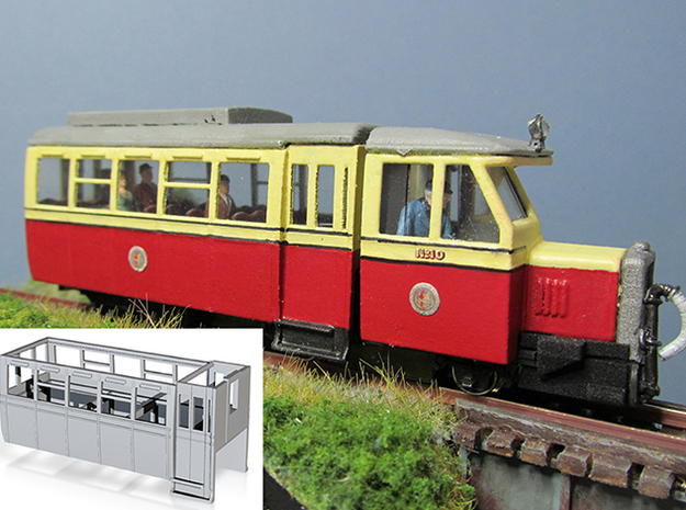 Part R-3 Railcar Body  in White Strong & Flexible Polished