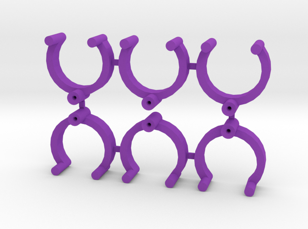 Collector Pins Magnet Adapter (6 pack) in Purple Strong & Flexible Polished