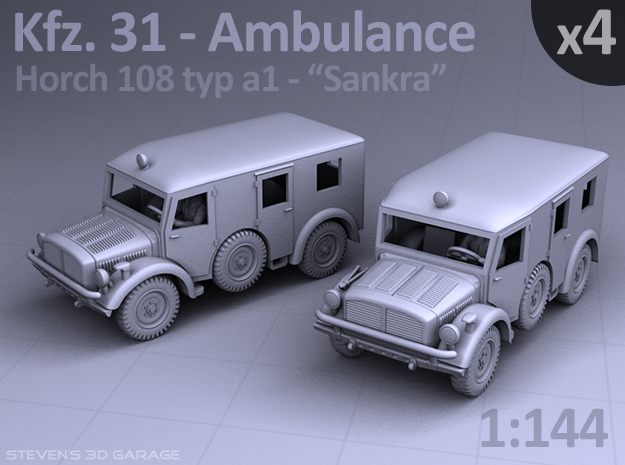 Ambulance Kfz 31 Horch - (4 pack) in Smooth Fine Detail Plastic