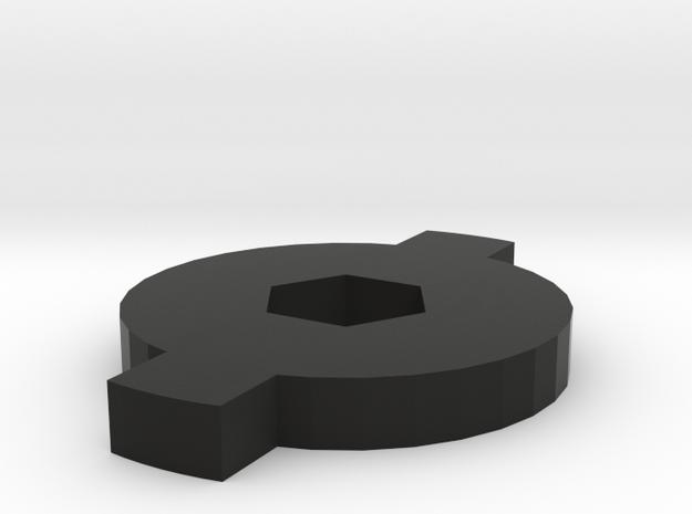 Cap for Micro Piggy Bank in Black Natural Versatile Plastic