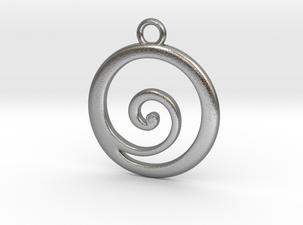 Koru Pendant in Raw Silver