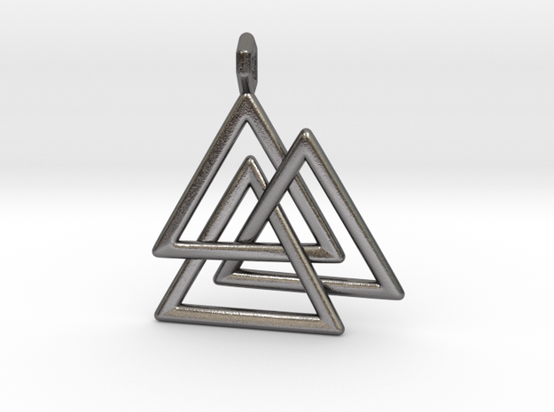 Vikings Valknut Pendant in Polished Nickel Steel