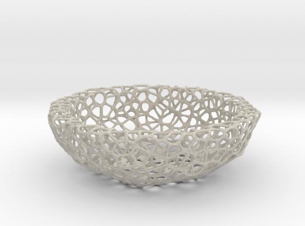 Bowl (19 cm) - Voronoi-Style #2 in Natural Sandstone