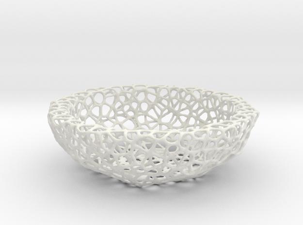 Fruit bowl (34 cm) - Voronoi-Style #2 in White Natural Versatile Plastic