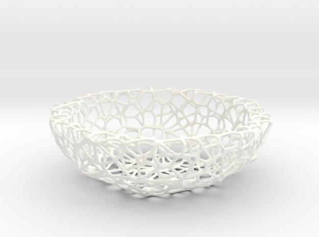 Little Bowl (15 cm) - Voronoi-Style #1  in White Processed Versatile Plastic
