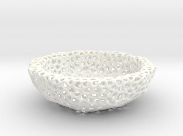 Mini Key shell / bowl (9 cm) - Voronoi-Style #6 in White Processed Versatile Plastic