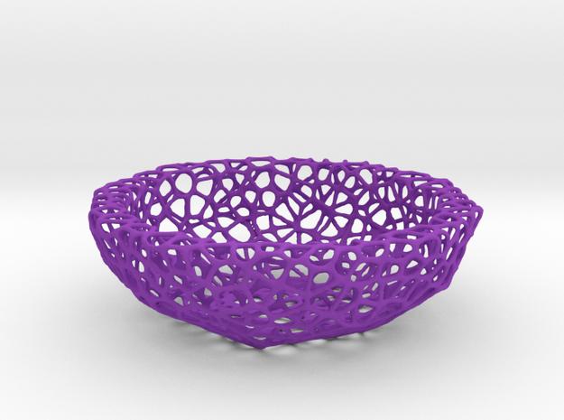 Mini Key shell / bowl (9 cm) - Voronoi-Style #5 in Purple Processed Versatile Plastic