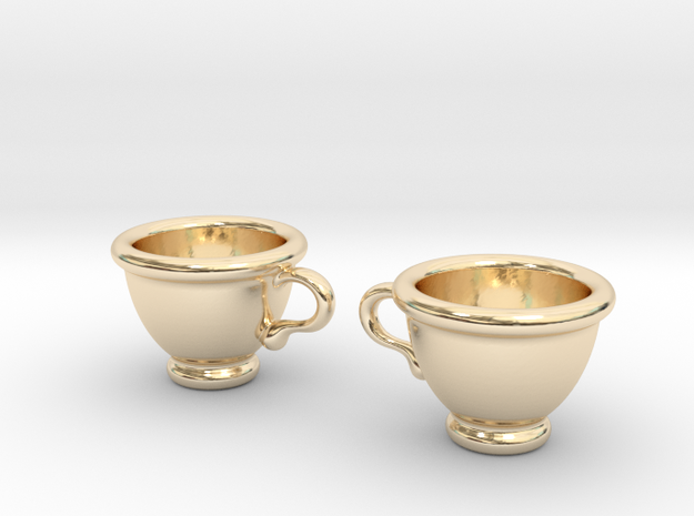 Coffee Cups Earrings in 14K Yellow Gold