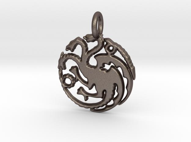 Targaryen Sigil Keychain in Polished Bronzed Silver Steel