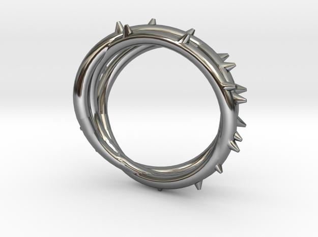 Rose Thorn Ring - Sz.11 in Fine Detail Polished Silver