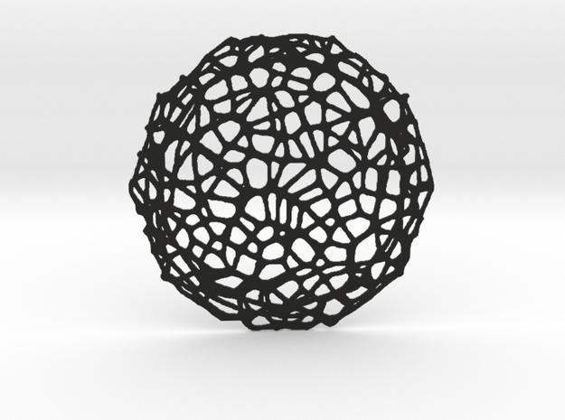 Drink coaster - Voronoi #8 (8 cm) in Black Natural Versatile Plastic