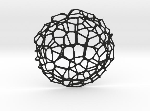 Drink coaster - Voronoi #9 (8 cm) in Black Natural Versatile Plastic