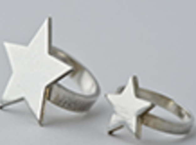 Silver Star Ring (size M) in Polished Silver