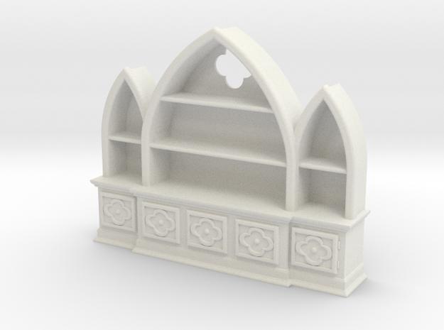 Gothic Bookshelf, version 3 in White Strong & Flexible
