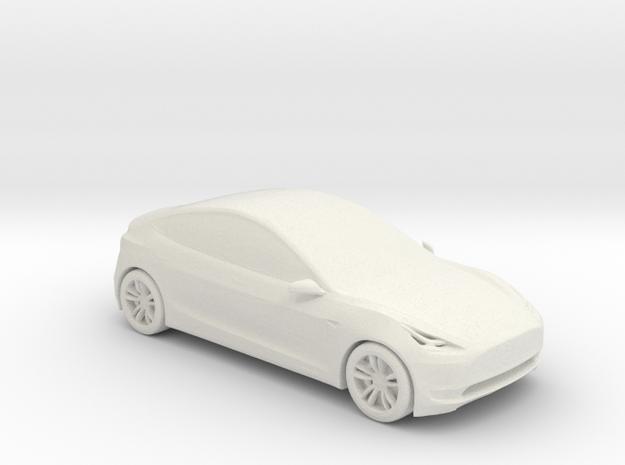 1/50 Tesla Model 3 in White Natural Versatile Plastic