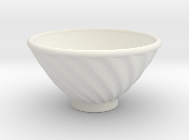 DRAW bowl - ceramic spiral ridged in White Natural Versatile Plastic