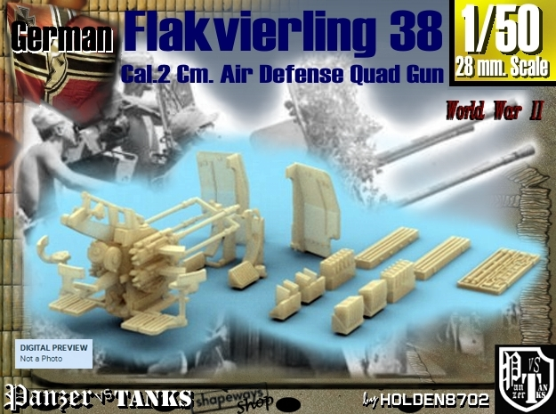 1-50 Flakvierling 38 For A-Wagen W Boxes 3d printed
