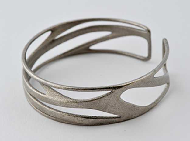 Inspired Curves (size s) in Polished Bronzed Silver Steel