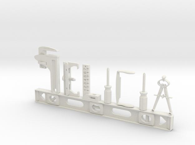 Felicia Nametag in White Natural Versatile Plastic