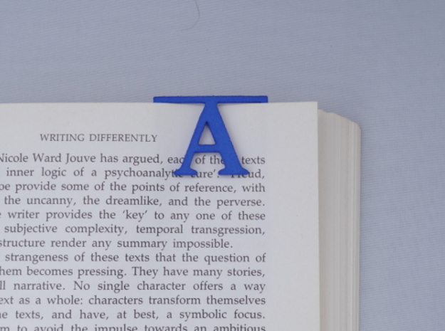 Bookmark Monogram. Initial / Letter A  in Blue Strong & Flexible Polished