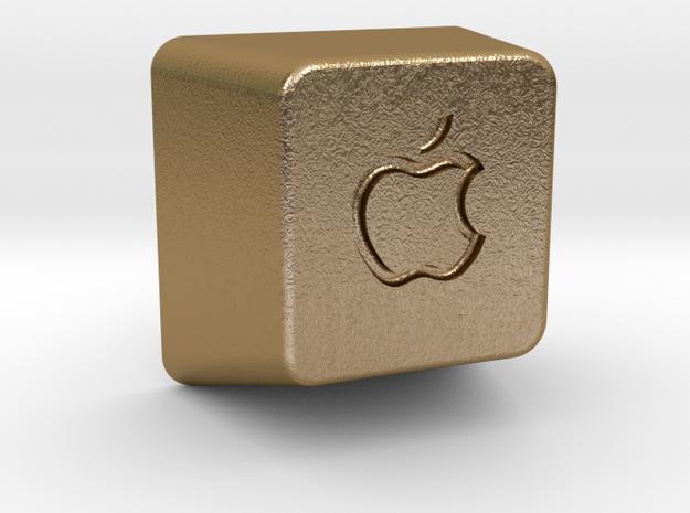 Keyboard Cap Pendant - Open Apple in Polished Gold Steel