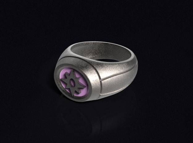 Violet Lantern Ring in Polished Bronzed Silver Steel
