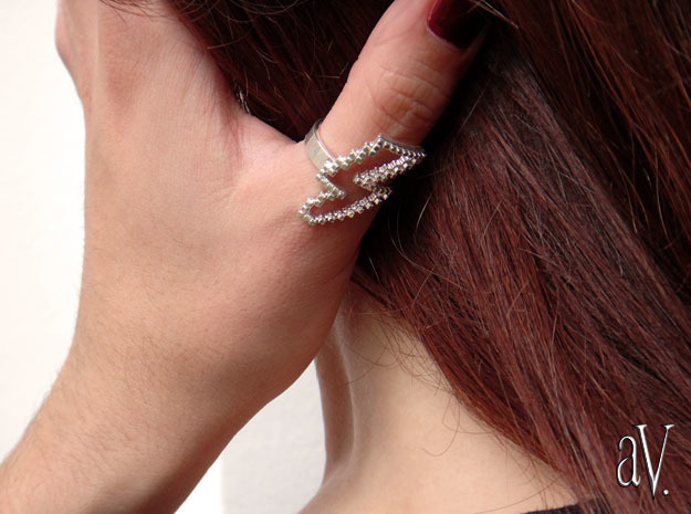 Jean Genie Lightning Ring in Natural Silver: 8 / 56.75