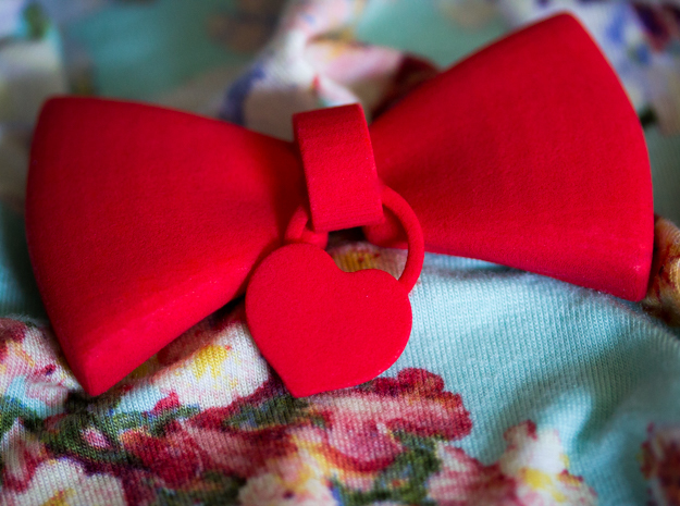 Heart Charm Bow in Red Strong & Flexible Polished