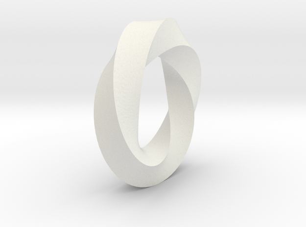 Mobius Strip in White Natural Versatile Plastic