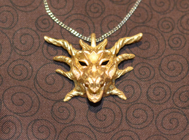 Sunlight Dragon Pendant in Polished Gold Steel