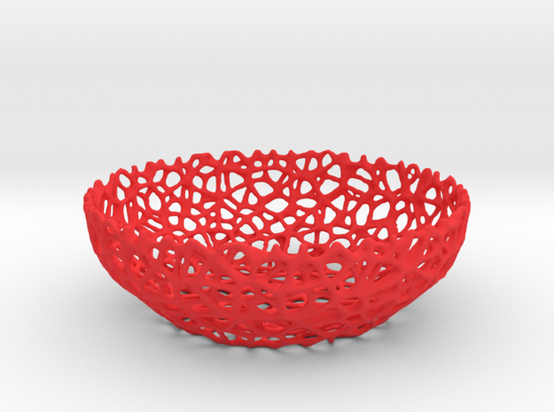 Voronoi key shell (10 cm) - Style #8 in Red Processed Versatile Plastic
