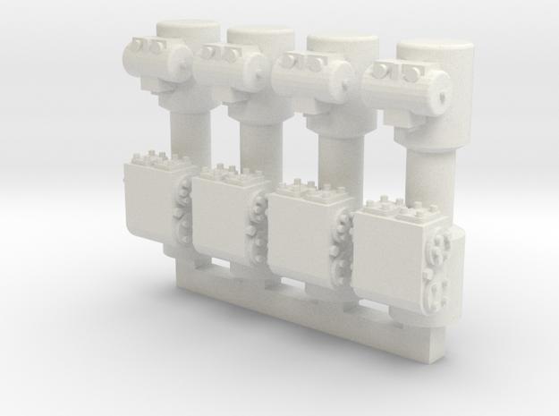 4 Weir Pumps in White Natural Versatile Plastic
