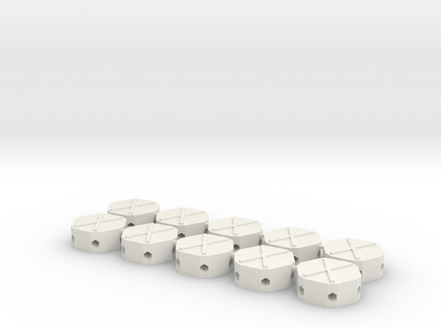 MGD-01 (10x): A Set with 10 Hexa-parts in White Natural Versatile Plastic