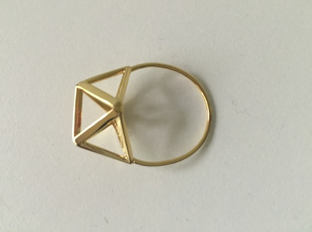 Amplituhedron Ring (Size 8) in 18k Gold Plated: 8 / 56.75