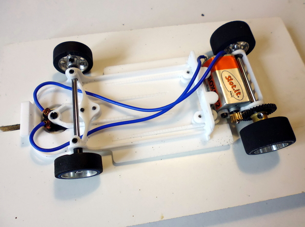 Slot car chassis for GT40 (KY) 1/28 in White Natural Versatile Plastic