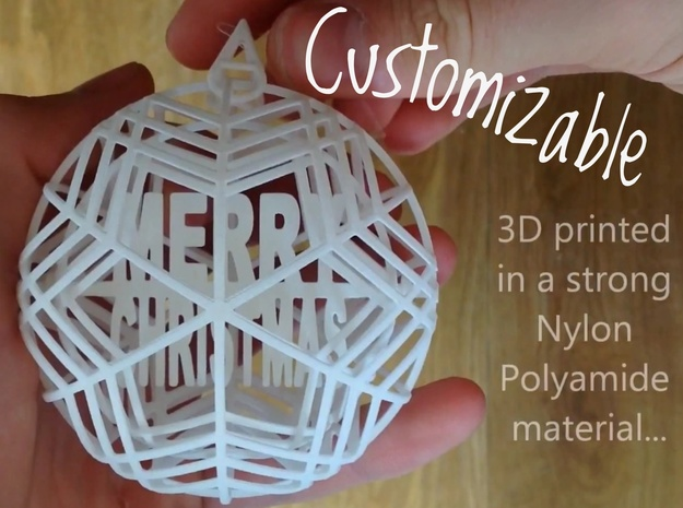 Christmas Ornament - Customizable Spinning Bauble 3d printed Shown in the 'White, Strong and Flexible' material