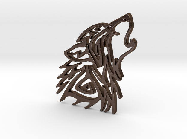 Wolf in Polished Bronze Steel