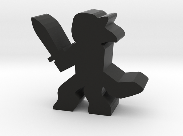 Game Piece, Wolf Faun With Sword in Black Natural Versatile Plastic