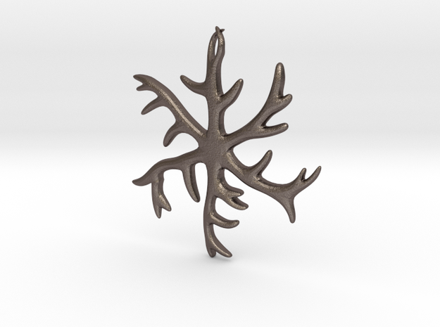 Antler Pendant 2 inches in Polished Bronzed Silver Steel