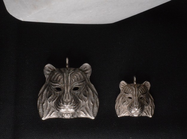 Tiger Pendant in Polished Bronzed Silver Steel