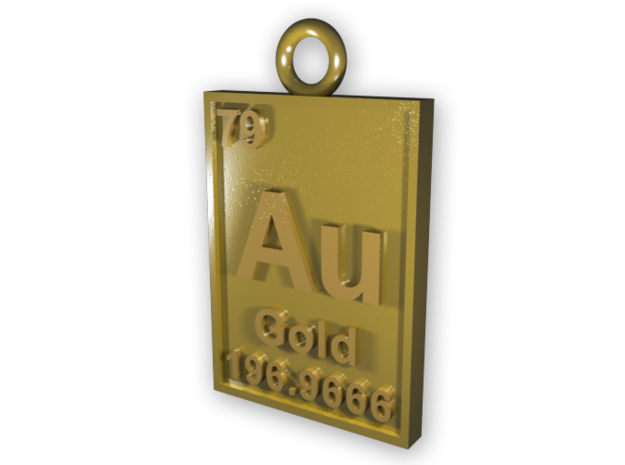 Gold Periodic Table Pendant 3d printed CGI Render of The Gold Periodic Table Pendant printed in Gold Plated Brass.