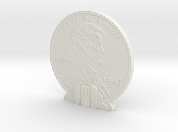 Giant Penny in White Natural Versatile Plastic