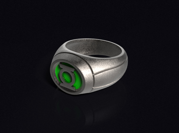 Green Lantern Ring in Polished Bronzed Silver Steel