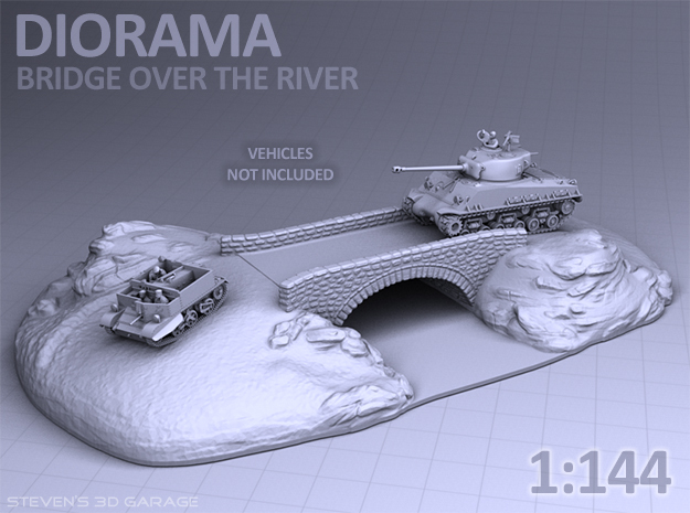 Diorama - Bridge over the river in White Natural Versatile Plastic