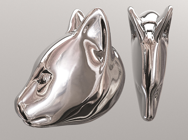 Cat 3d printed Polished Silver Finish (simulation Render)