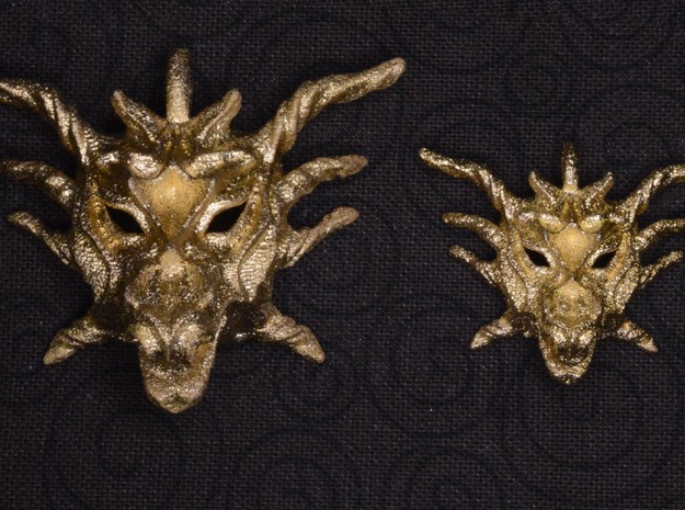 Sunlight Dragon Small Pendant in Polished Gold Steel