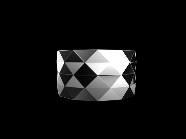 Triangle folding ring(Size7) in Rhodium Plated Brass