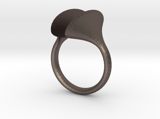 RIOT Rings: The Echo size 6.5 in Polished Bronzed Silver Steel