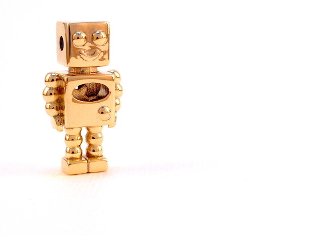 Robot Pendant in 18k Gold Plated Brass