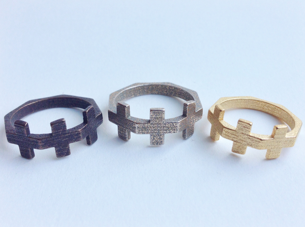 Triple Plus Ring 3d printed Bronze, Gold and Stainless Steel